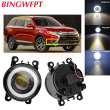 2pcs Car Accessories H11 LED Fog Light 12V Angel Eye with Lens For Mitsubishi OUTLANDER 2 PAJERO 4 L200 Grandis 2003-2016