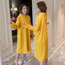 Hooded Dresses 2019 New Pure-colour Fashion Leisure Large-Size Loose  long sleeve dress