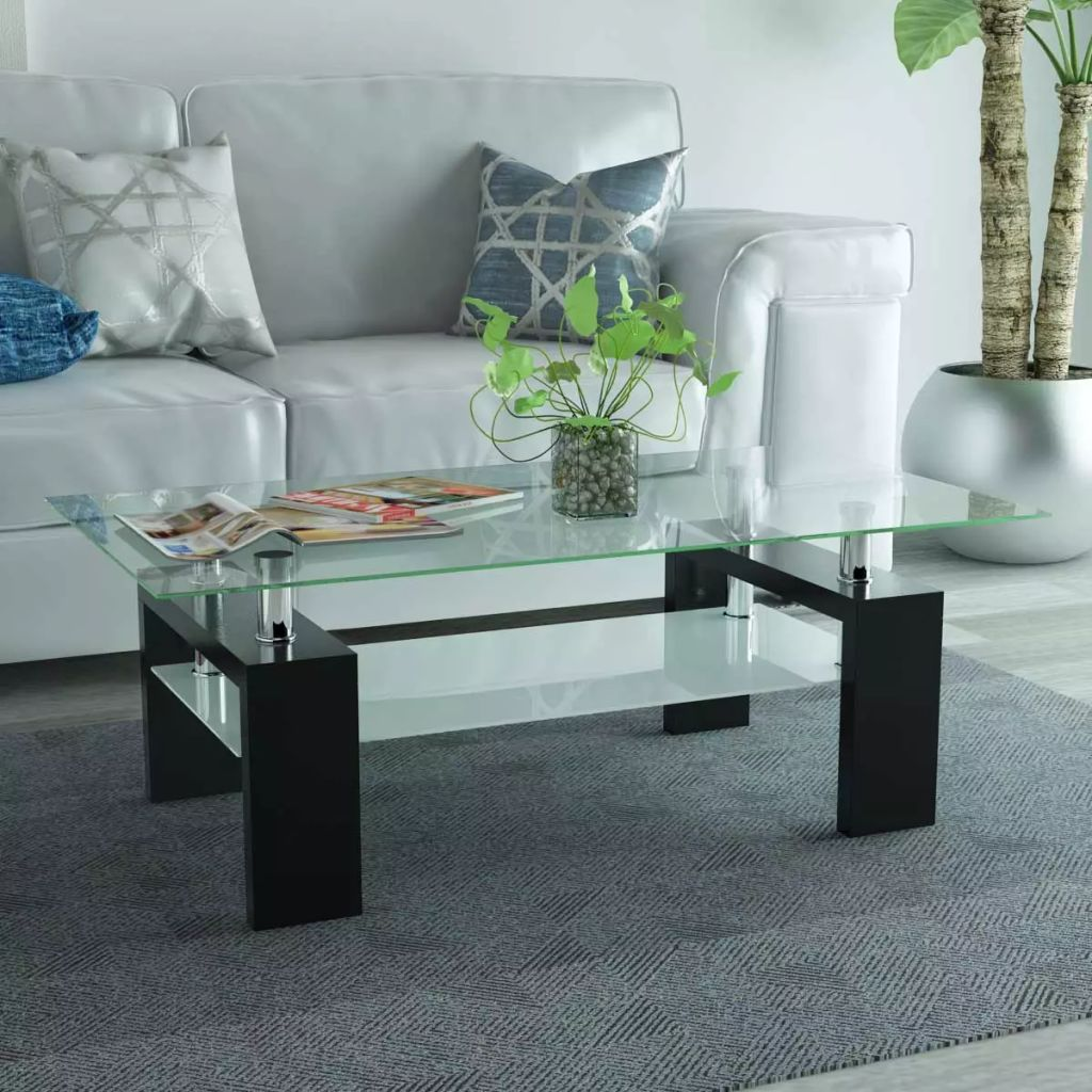 VidaXL High-Gloss Coffee Table With Lower Shelf 110x60x40 Cm Black