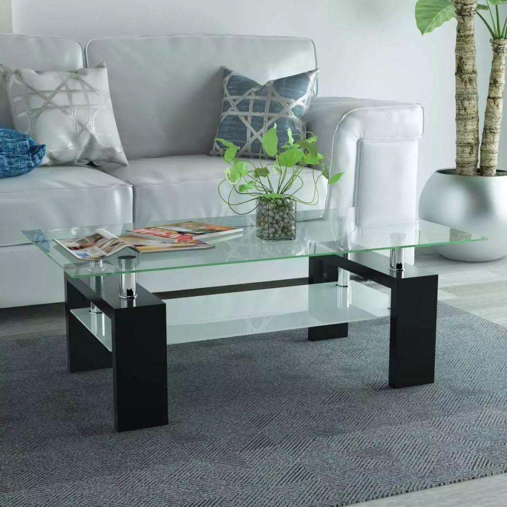 VidaXL High-Gloss Coffee Table With Lower Shelf 110x60x40 Cm Black