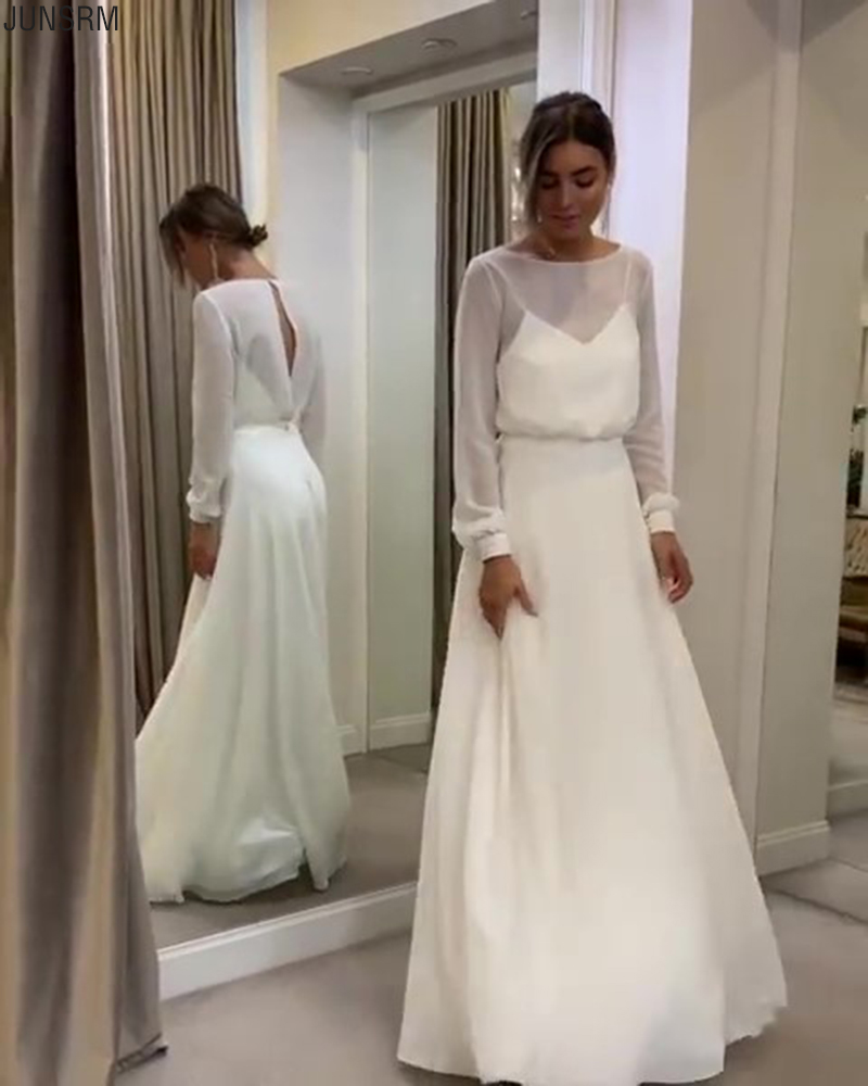 Bohemian Simple Long Sleeves Wedding Dress A Line Open Back Modest Plus Size Custom Made Women Chiffon Bridal Gowns