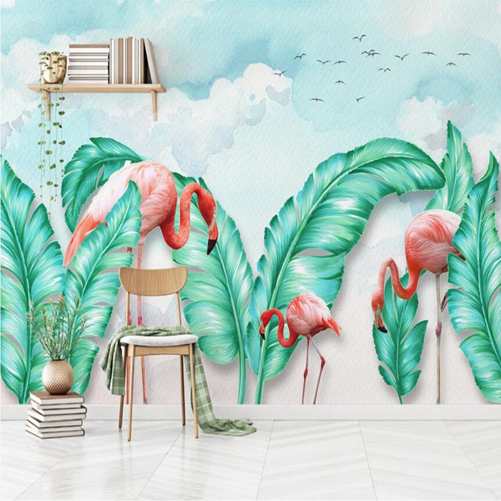 Milofi Custom Large Wallpaper Mural 3D Minimalist Hand Painted Tropical Leaves Flamingo Background Wallpaper Mural