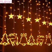 Huiran Christmas Tree Elk Bells LED String Lights Merry Decorations For Home 2019 Xmas Curtain Happy New Year