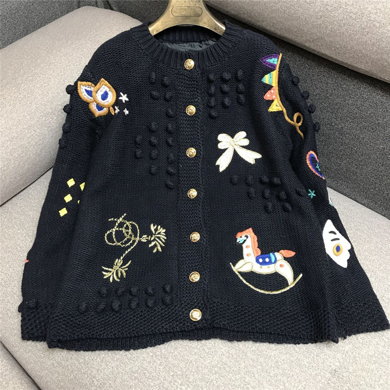Luxury Designer Brand Knitted Sweater For Women Vintage O Neck Handcraft Cartoon Embroidery Wool Knitted Cardigans Sweater