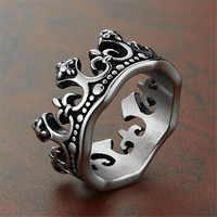 Männer Ringe Schwarz Königlichen König Crown Ritter Fleur De Lis Kreuz Vintage Ringe für Männer Schmuck