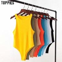 Toppies sexy ärmellose dünne bodys frauen overalls einfarbig overalls rundhals strampler