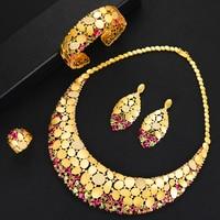 missvikki Nigerian India Russia Wedding Bride Luxury Necklace Dubai 4PCS Dress Jewelry Set for Women Daily Party Cubic Zirconia