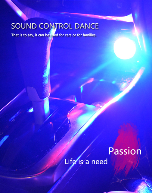 Car Auto Lamp USB Light DJ RGB Mini Colorful Music Sound Light USB-C Apple Holiday Party Karaoke Atmosphere Lamp Welcome Light 3