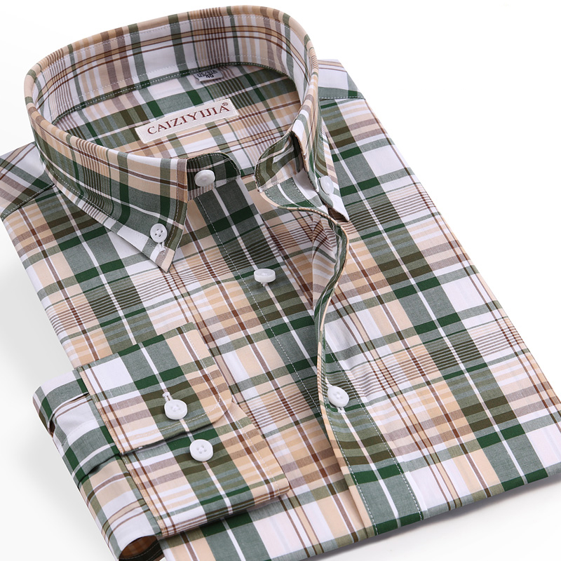 Cotton Shirt Checkered Long-Sleeve Plaid England-Style Button-Down Casual Standard-Fit