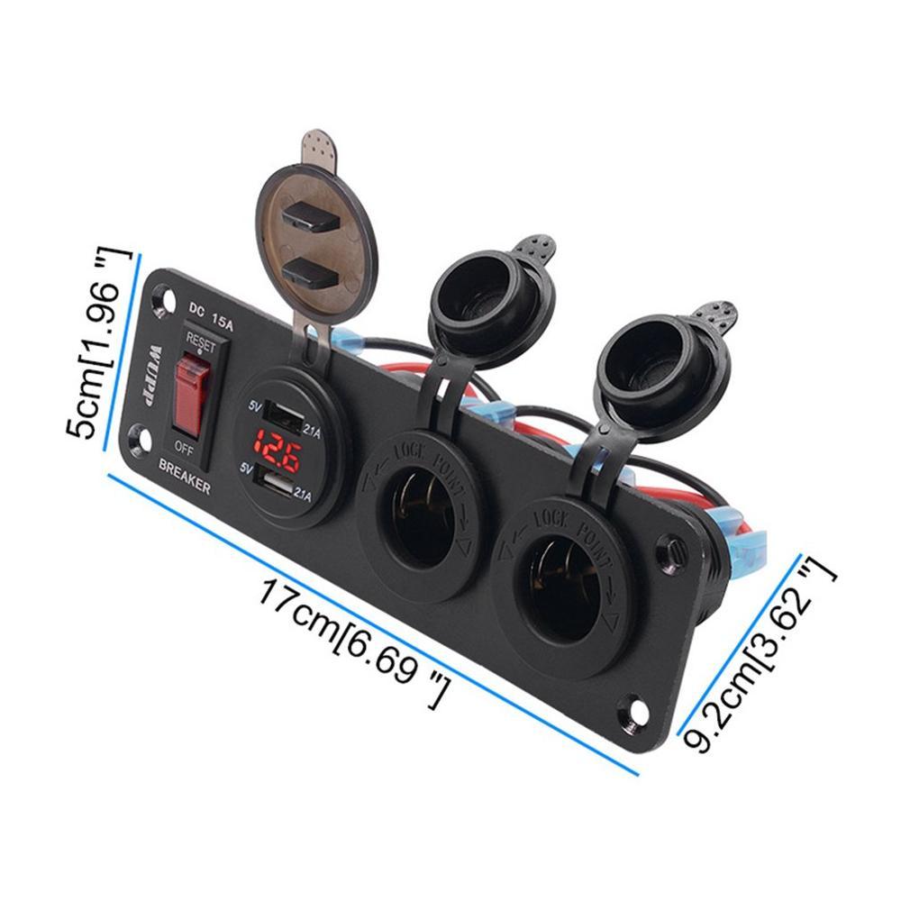 4 в 1 переключатель панели двойной USB быстрая зарядка цифровой дисплей измеритель напряжения двойной Прикуриватель разъем для авто яхты