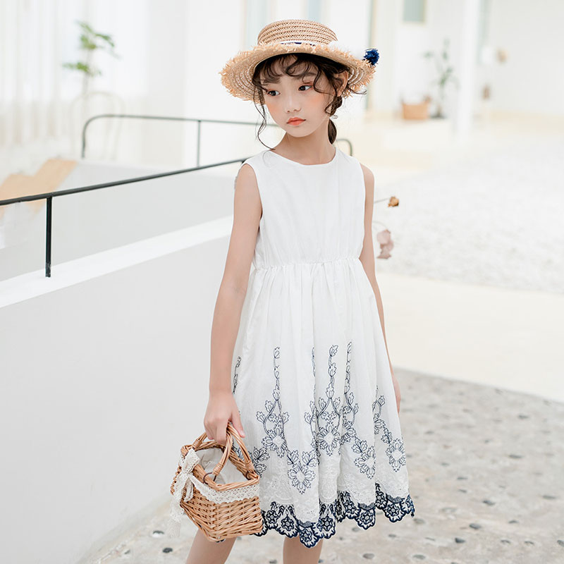 White Embroidery Floral Dresses Teenage Girls Summer Princess Clothing Kids Sleeveless Party Dresses Children Holiday Dress Baby