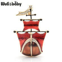 Wuli&baby Red Enamel Sailboat Brooches Women Men Alloy Sport Excise Party Brooch Pins Gifts