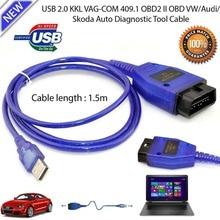 Vag-Com  KKL VAG-COM 409.1 OBD2 USB Diagnostic Cable Scanner Scan Tool Interface For V W Audi Seat Volkswagen Skoda цена и фото