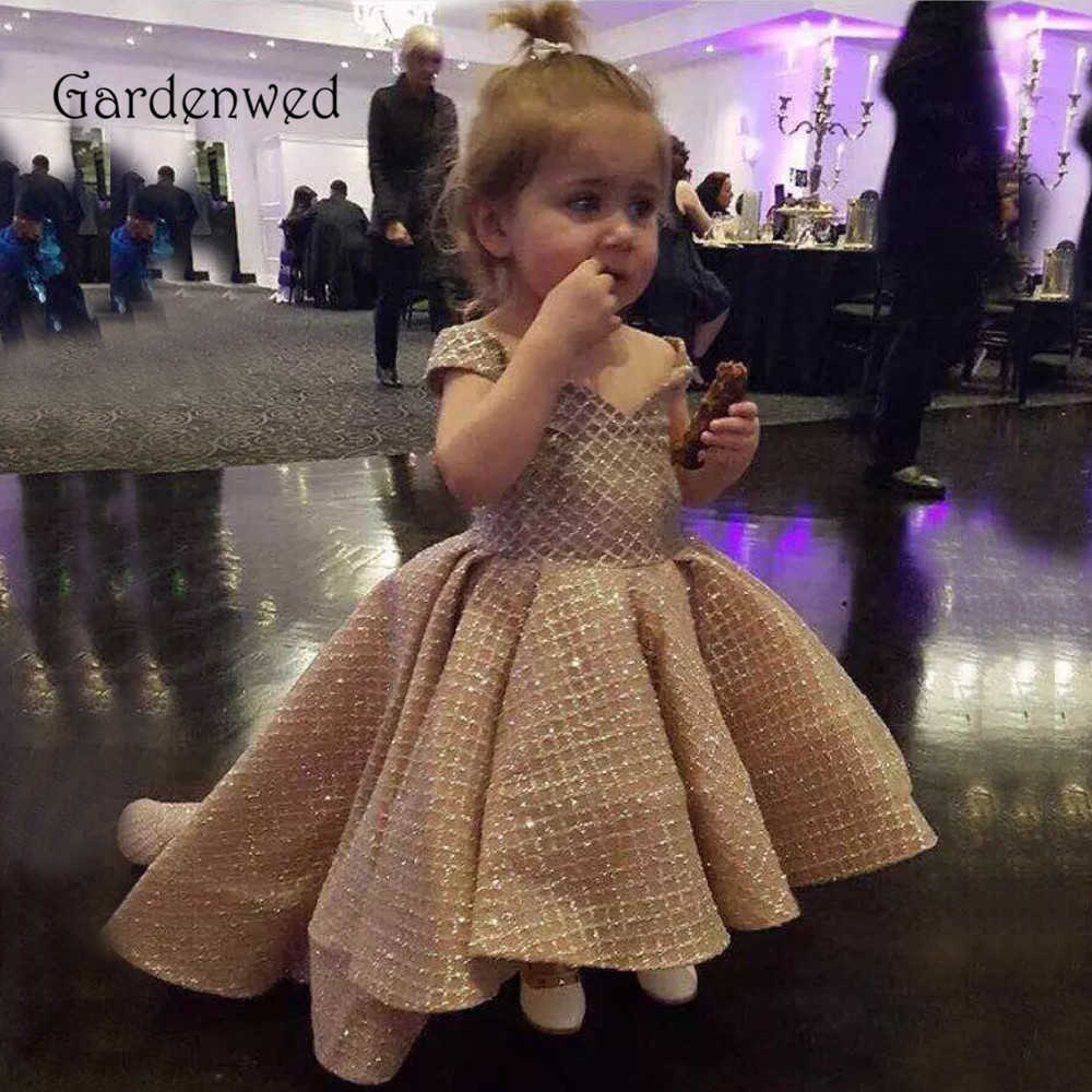 Glitter Sequin Grid Champagne Flower Girl Dresses Off Shoulder Hi-Lo Little Girl Wedding Party Dresses Puffy Baby Pageant Dress