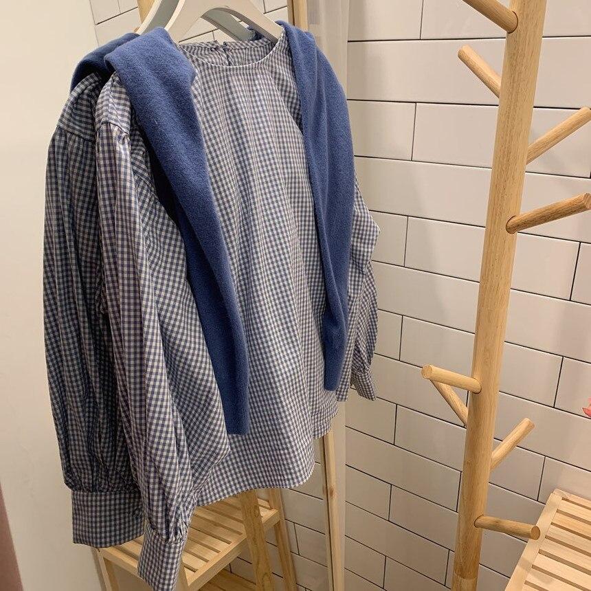 H053a080527b1458094b4d99e1ea515f0Q - Spring / Autumn O-Neck Long Sleeves One-Button Cuffs Loose Plaid Blouse