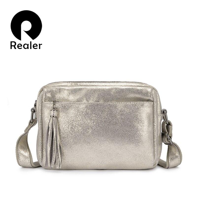 REALER 本革クロスボディバッグ女性タッセルショルダーメッセンジャーバッグレディースファッション財布やハンドバッグデザイン  グループ上の スーツケース & バッグ からの トップハンドルバッグ の中 1