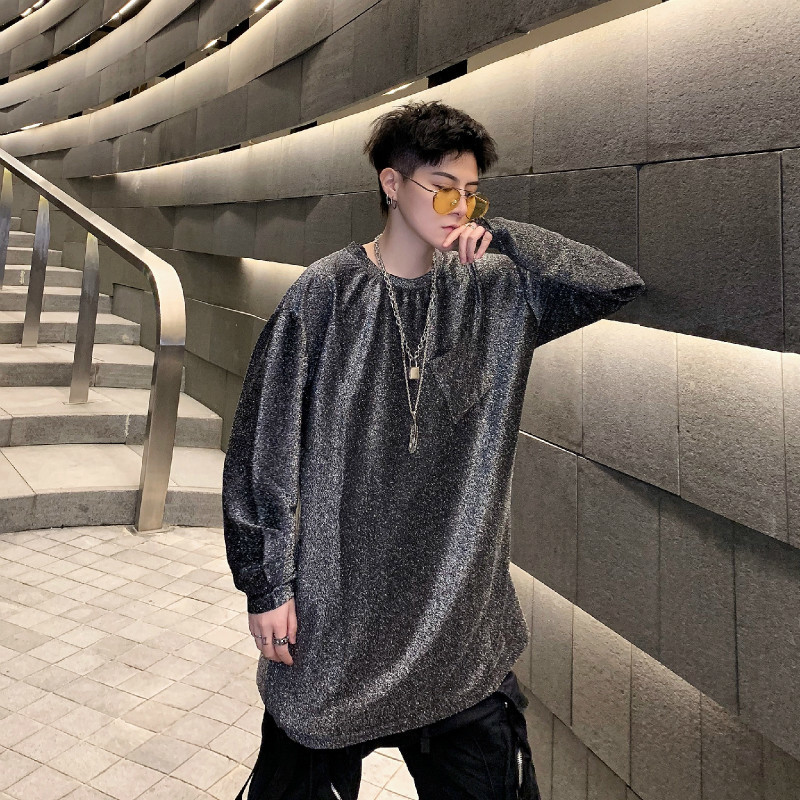Spring Models Ins Personality Bright Color Loose Hip Hop Long-sleeved Men's Undershirt Nightclub DJ Stage Performance Tide
