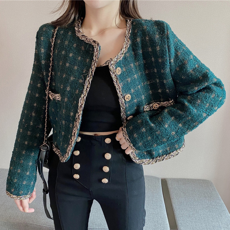 Vintage Fall Luxury Pocket Single Breasted Button Tweed Jacket Short Coat Women Long Sleeve Korean Woolen Plaid Outwear Crop Top