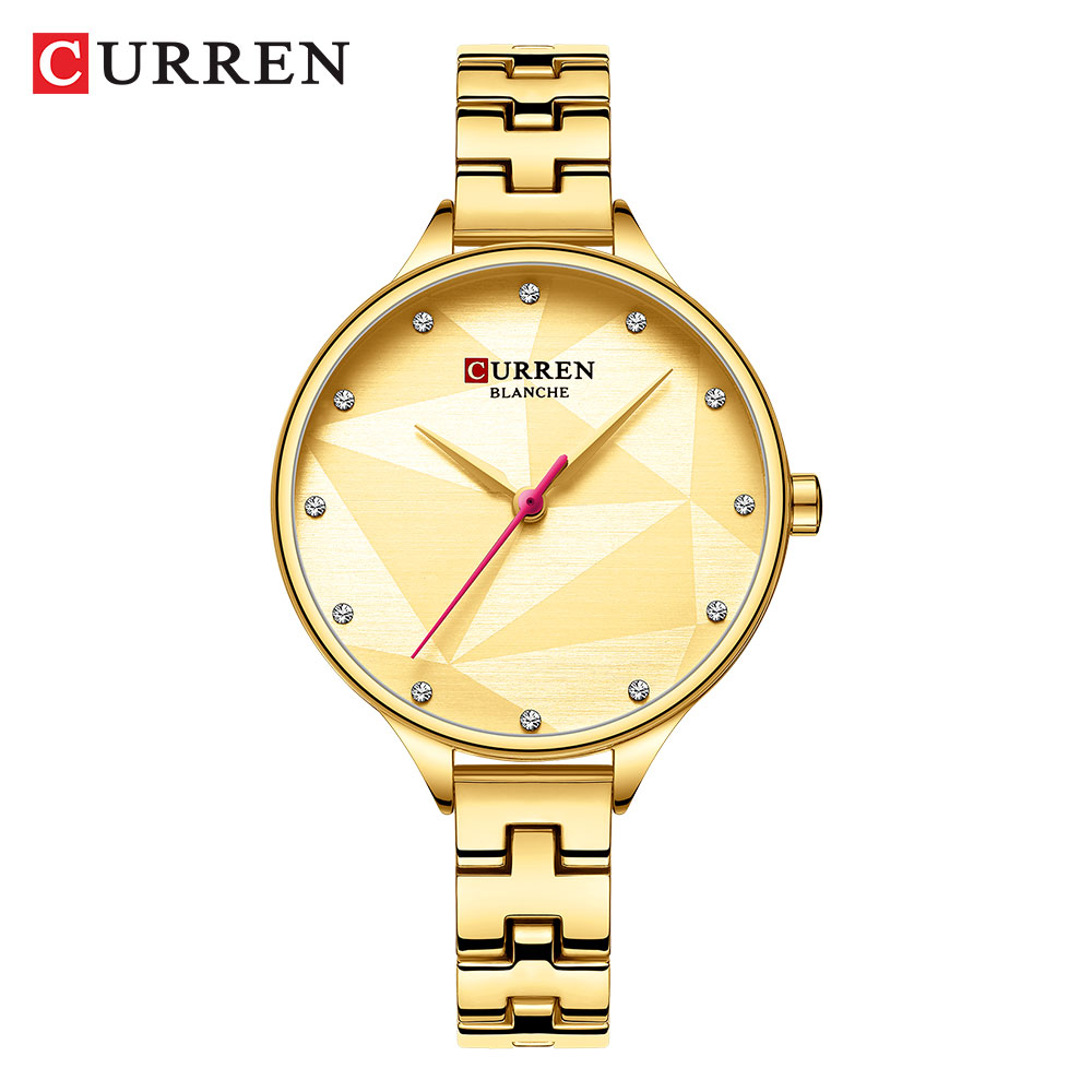 CURREN 2020 New Fashion Rose Quartz Vintage Watch Stainless Steel Watch Womenrhinestone Watches Luxury Brand Gold  Watch Women