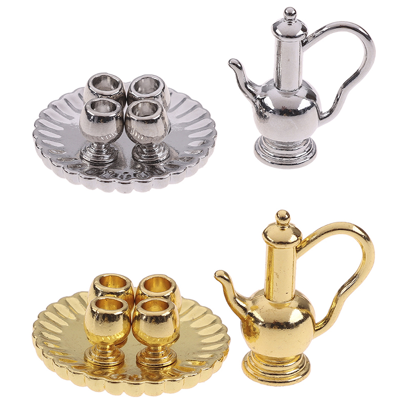 6pcs/set 1:12 Dollhouse Miniature Accessories Mini Flagon Wine Pot Cup Tray Simulation Furniture Model Toys For Doll House Decor