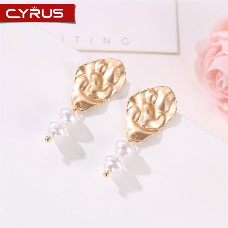 Bohemian Double Pearl Drop Earrings For Women Gold Pleated Irregular Metal Dangle Earing Femme Mujer Boho Jewelry Party Gift