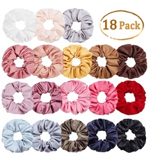 29 Color Soft Chiffon Velvet Satin Hair Scrunchie Floral Grip Loop Holder Stretchy Band Women Accessories