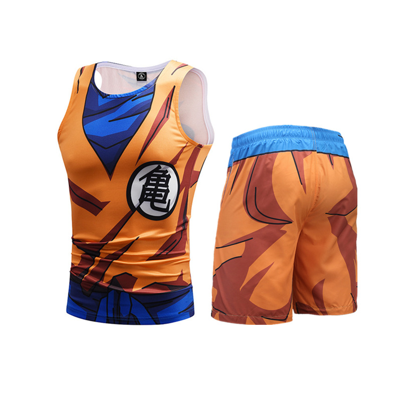 Summer New Style Dragon Ball Sun Wukong Turtle Word 3D Printed Sports Vest Beach Leisure Suit Men
