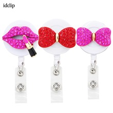 idclip 3PC Lot Pink Bow Retractable Badge Holder with Alligator Clip Retractable Cord ID Badge Reel Rose Kiss джинсы kiss pink kiss pink ki011ewcmag0