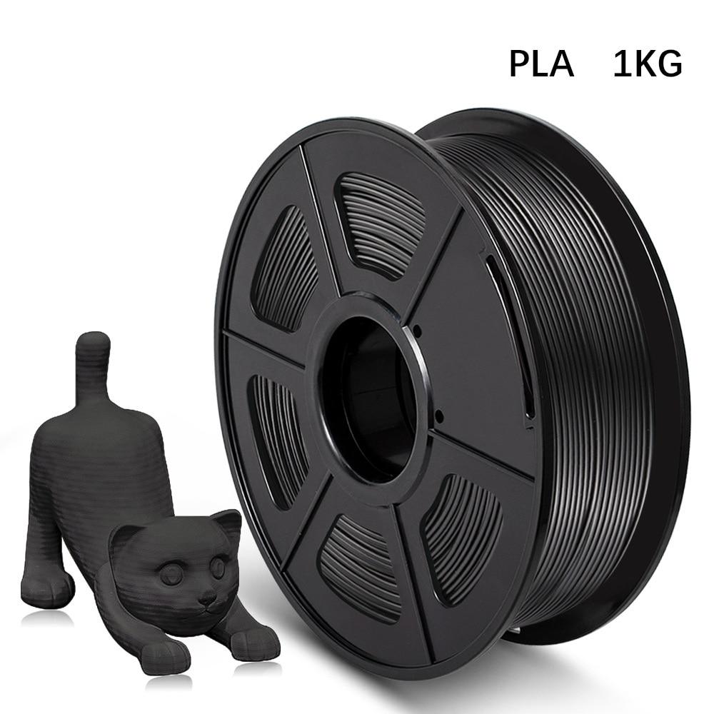 3D Printer Filament PLA 1kg 1.75mm Diameter Tolerance +/-0.02mm Black Color 2.2LBS 100% No Bubble Eco-friendly Printing Material