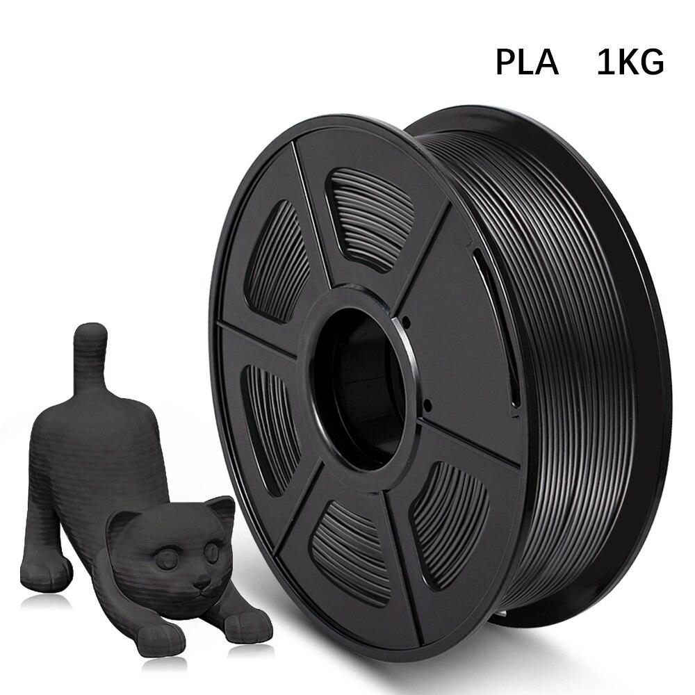 Tolerância do diâmetro do pla 1kg 1.75mm do filamento da impressora 3d +/-cor preta de 0.02mm 2.2lbs 100% nenhuma bolha material de impressão eco-amigável