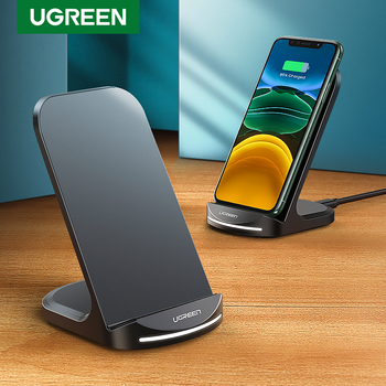 Ugreen Qi Wireless Charger Stand for iPhone 12 Pro X XS 8 XR Samsung S9 S10 S8 S10E Fast Wireless Charging Station Phone Charger