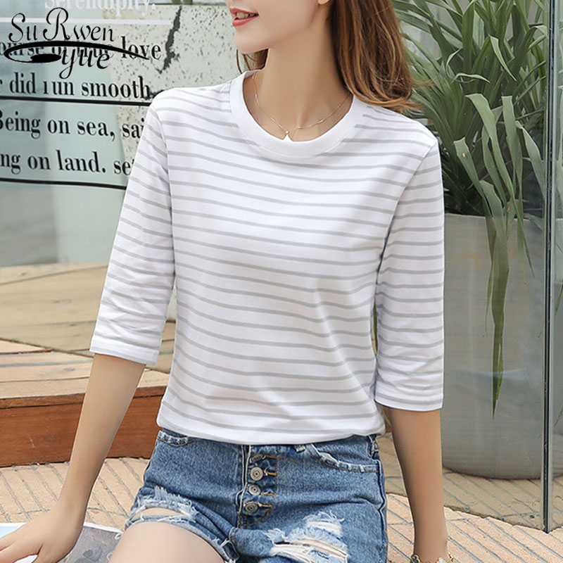 2020 Spring and Summer Women's Loose Stripes Half Sleeve blouses Female Korean Cotton O-neck Classical Slim Ladies Tops 9504 image