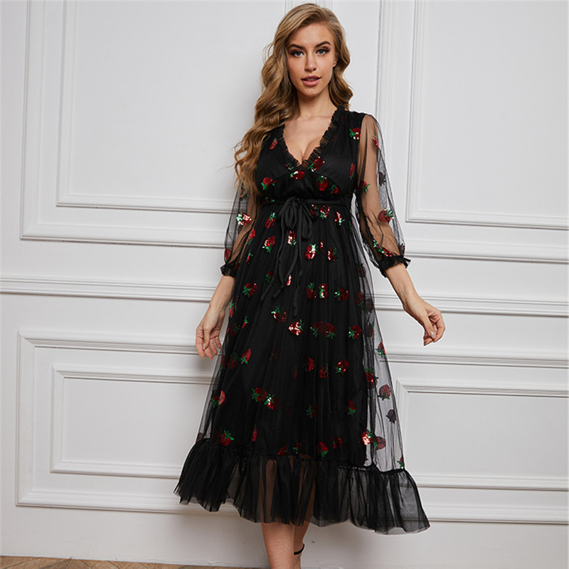 Stock 2021 Strawberry Dress Women Fashion Deep V Pleated Puff Sleeve Sweet Voile Mesh Sequins Embroidery French Party Dresses 8