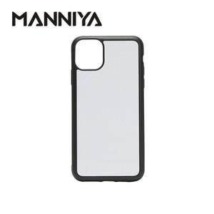 Image 1 - MANNIYA per iphone 11/11 Pro/11 Pro Max Sublimazione in bianco TPU + PC di gomma Cassa del telefono bianco con inserti In Alluminio 100 pz/lotto