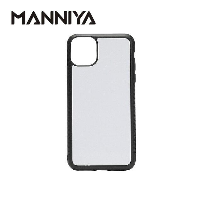 MANNIYA pour iphone 11/11 Pro/11 Pro Max Sublimation vierge coque de téléphone en caoutchouc + PC avec inserts en aluminium 100 pièces/lot