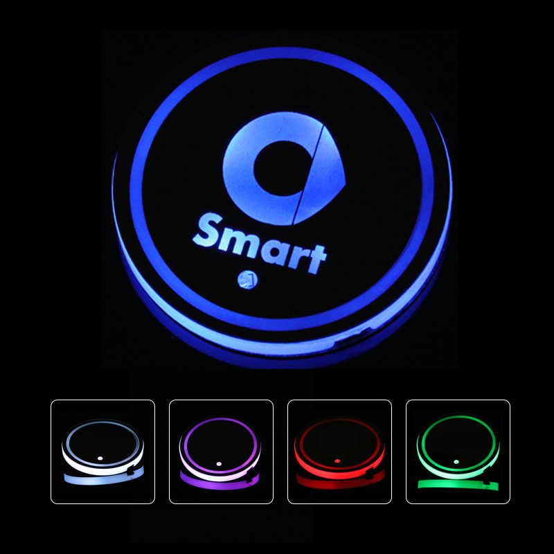 2X Led Car Logo Cup lights For Mercedes Benz Smart Fortwo Forfour 453 451 Forjeremy Luminous Coaster Accessories