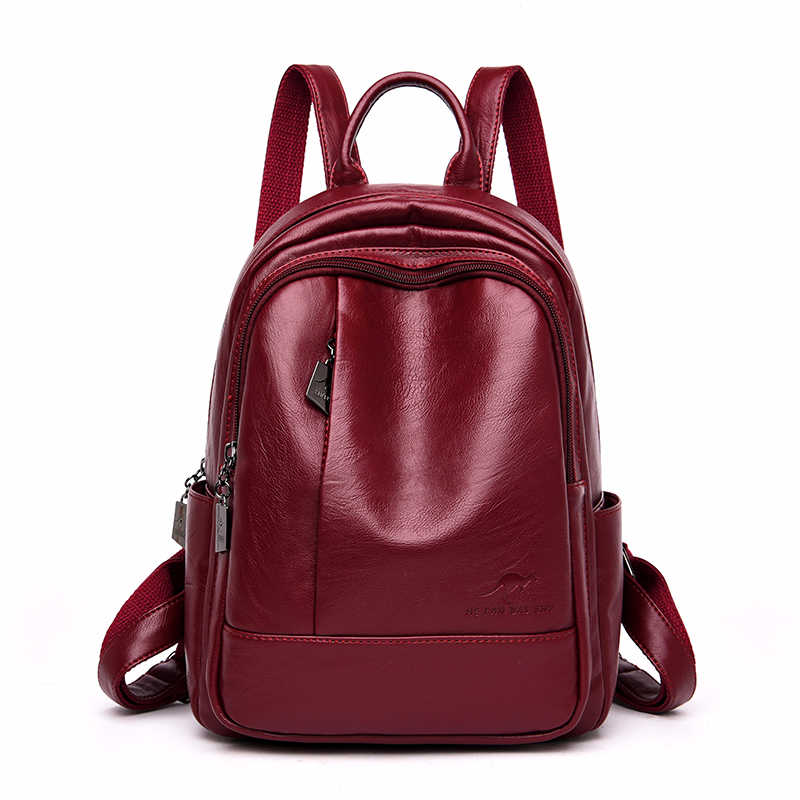2019 Women Soft Leather Backpacks Large Capacity School Bags For Teenage Girls Sac A Dos Vintage Bagpack Ladies Female Back Pack