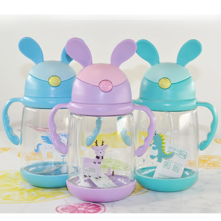 Children Sippy Cup Marble Glass Leak-Proof Baby Cup With Straw BABY'S Drinking Cup Training Cup