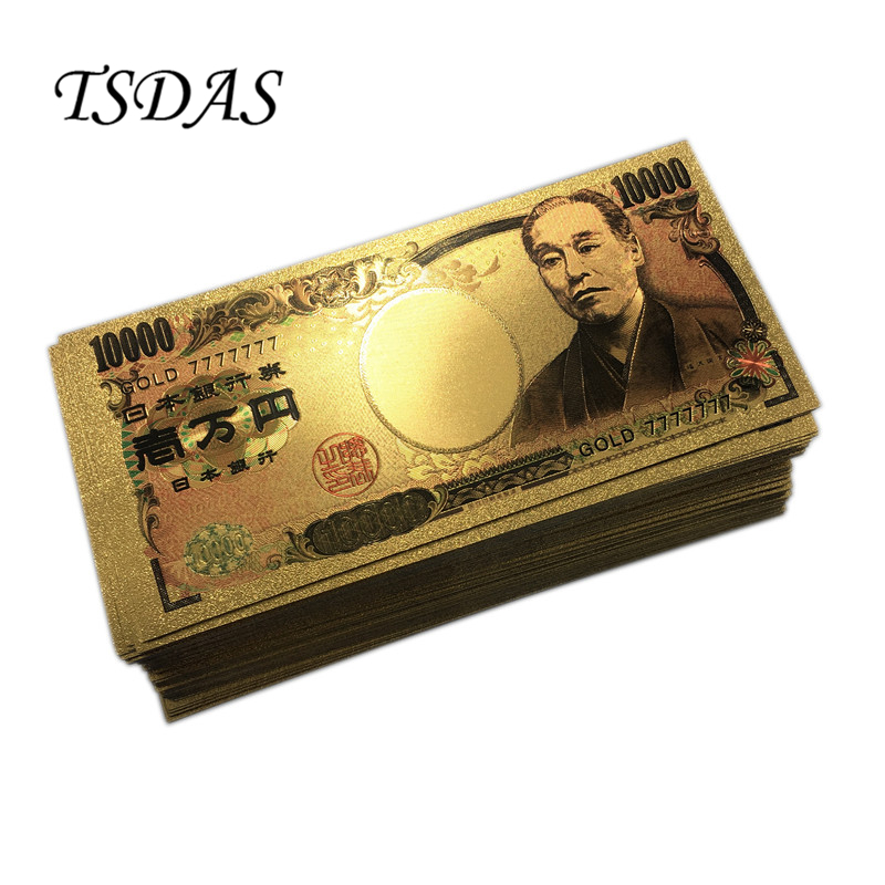 Gold 7777777 Lucky 7 Golden Banknote Collectible 24K Foil Banknotes Japan 10000 Yen 100pcs/lot