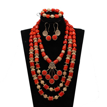 Original Coral Beads Flower Pendant Necklace Bracelet Earrings Set African Gold Beads Wedding Jewelry Set Bride Jewelry Set CO28