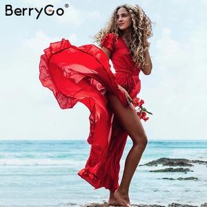 Image 5 - BerryGo Sexy v neck ruffled boho dress women Cotton short sleeve holiday beach maxi dress Casual solid yellow summer wrap dress