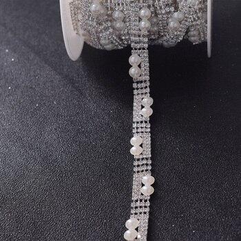 Wholesale 10yards/lot white pearl decorations bride dress belt sash appliques trim sewing on rhinestones trimming accessroies
