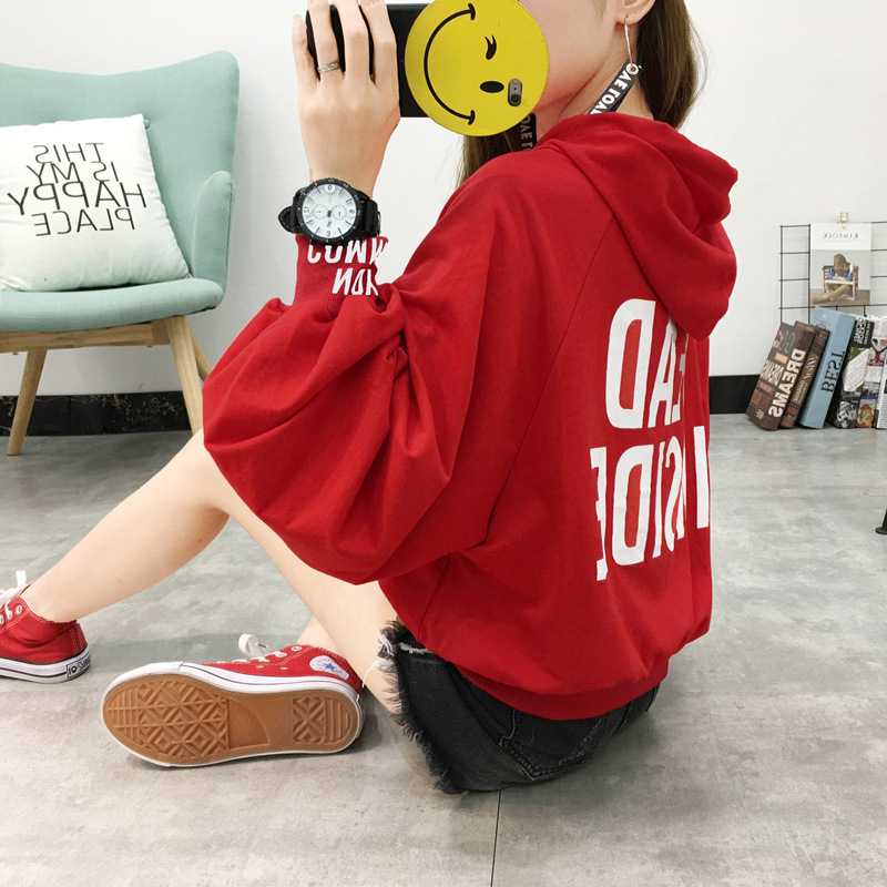 2018 Autumn Clothing New Style Korean-style Women's Loose-Fit Puff Sleeve WOMEN'S Dress Students Tops Hooded Thin Hoodie Women's
