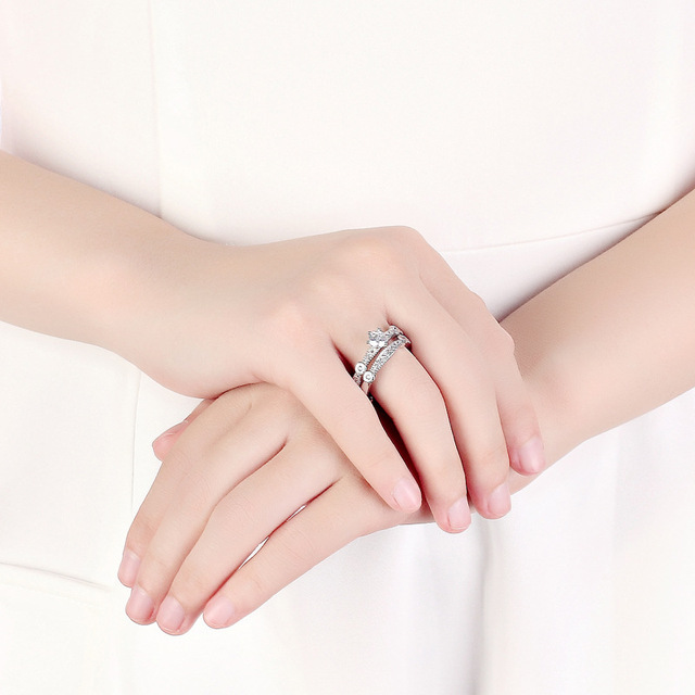 2 pcs Wedding Set Rings For Women 925 Sterling Silver AAA Zircon Fine Jewelry Unique  Bague Femme Banquet Accessories