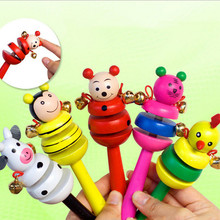 Wooden Shaking Handbell Rattle Sound Toy Musical Instrument Gift for Baby Kid Child Toys for Fun