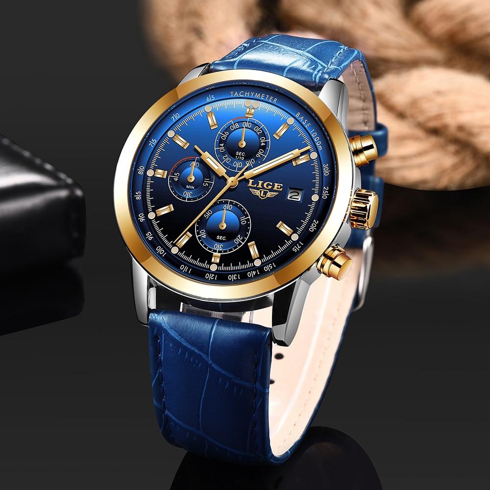 LIGE 2020 montre hommes mode Sport Quartz horloge hommes montres marque de luxe en cuir affaires étanche montre Relogio Masculino + boîte 2