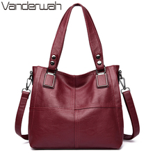 Bolsa feminina de couro de luxo, bolsa feminina casual de tamanho grande de 2019
