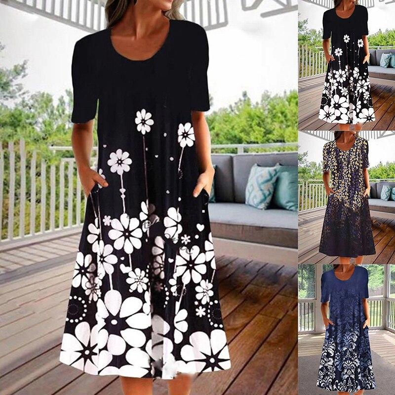 Causal Vintage Party Dresses Women Plus Size Sundress Beach Long Dress Boho Elegant Beach Dress Robe