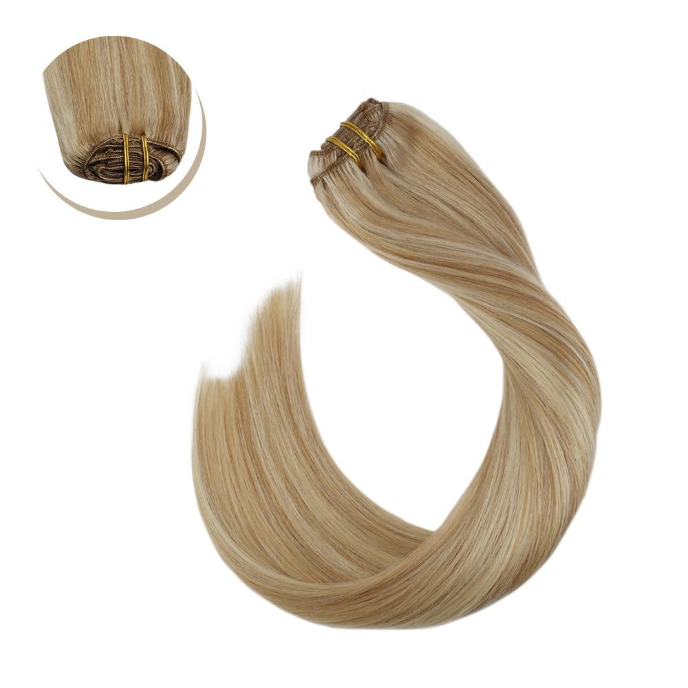 Ugeat Weft Human Hair Clips Brazilian Human Hair Extensions 14-24