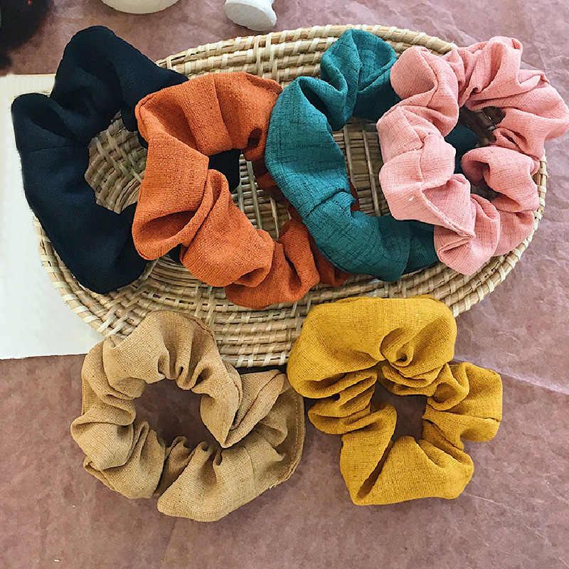 Neue 2019 Frauen Einfarbig skranchy Elastische Haar Bands Koreanische Süße Einfache 6 Farben Haar Scrunchie Mädchen Haar Zubehör